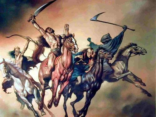 چهار سوارکار، به ترتیب از سمت چپ؛    نمادهایی از پیروزی و فتح، جنگ، قحطی و مرگ