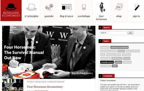 تصویری از سایت توابین اقتصاد اشکرافت به همراه تعداد زیادی از اقتصاددانان و سیاستمداران    که خود را توابین عرصهی اقتصاد مدرن مینامند،    برآن شدهاند تا به واکاوی سیستم اقتصادی-سیاسی موجود بپردازند و آن را اصلاح و نوسازی کنند
